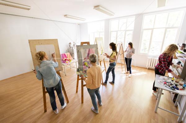 женщину Живопись искусства школы креативность образование Сток-фото © dolgachov