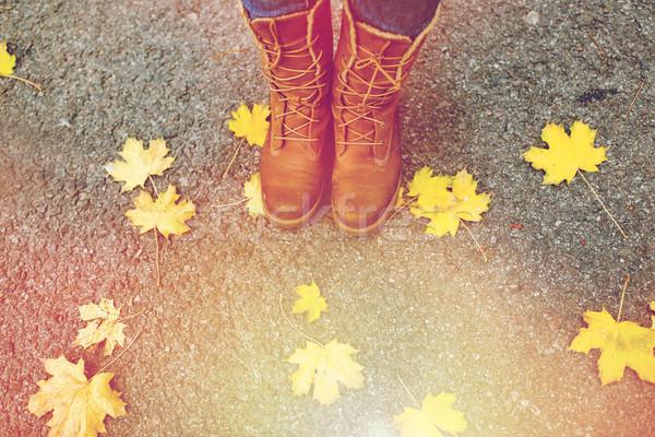 Női láb csizma őszi levelek évszak emberek Stock fotó © dolgachov