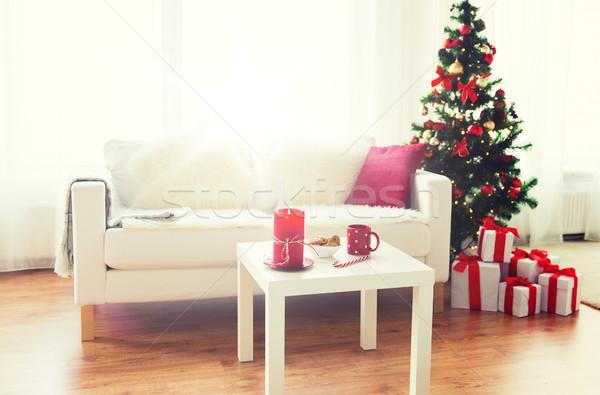 Salon wnętrza choinka prezenty christmas wakacje Zdjęcia stock © dolgachov