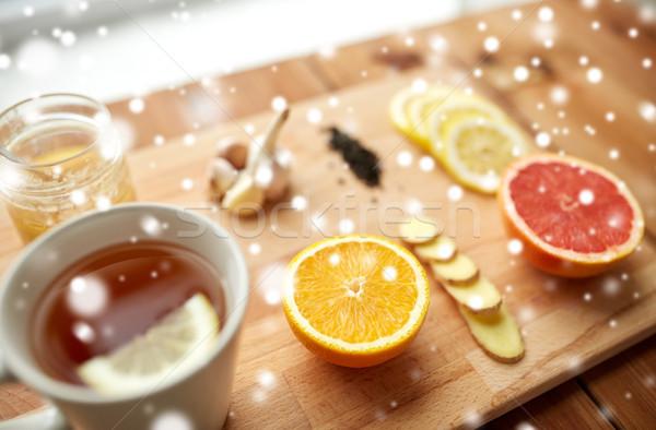 Gengibre chá mel cítrico alho madeira Foto stock © dolgachov