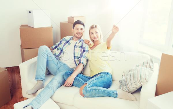 Foto stock: Pareja · cajas · movimiento · nuevo · hogar · personas