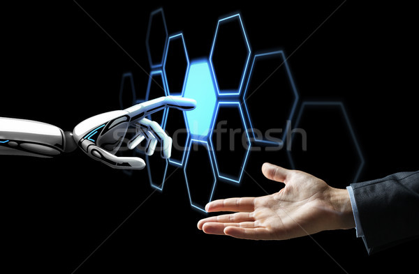 人の手 ロボット 触れる ネットワーク ホログラム 将来 ストックフォト © dolgachov