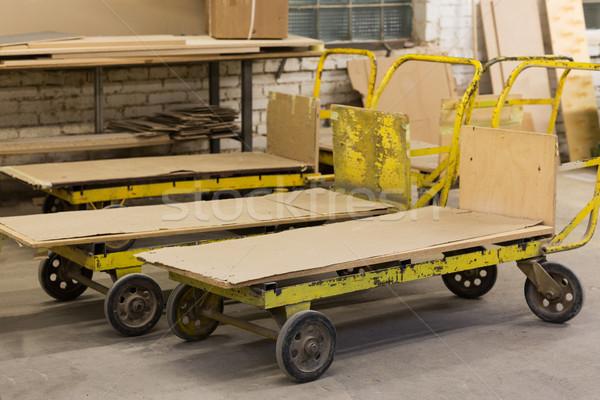 old loaders at furniture factory workshop Stock photo © dolgachov