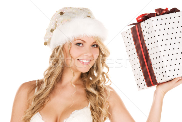 Heiter Helfer Mädchen Geschenkbox Bild Stock foto © dolgachov