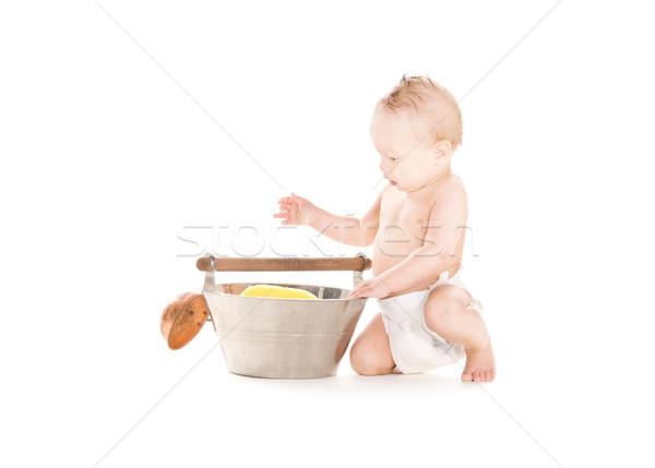 Stok fotoğraf: Bebek · erkek · kepçe · resim · beyaz · çocuk