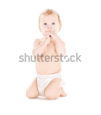 sitting baby boy in diaper Stock photo © dolgachov