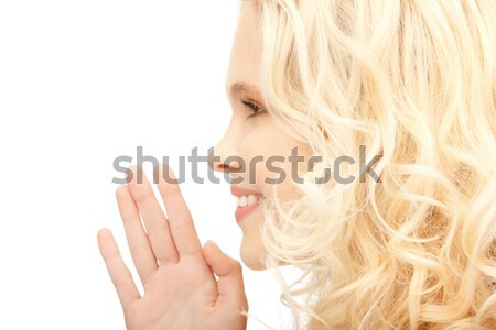 Femme chuchotement potins lumineuses photos jeune femme Photo stock © dolgachov