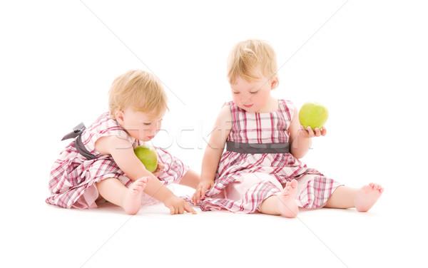Foto due adorabile bianco alimentare Foto d'archivio © dolgachov