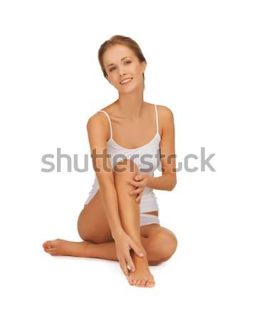 Kadın pamuk dokunmak bacaklar resim güzel bir kadın Stok fotoğraf © dolgachov