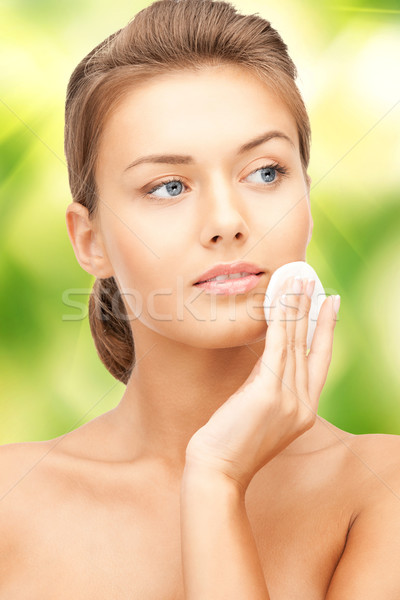 beautiful woman with cotton pad Stock photo © dolgachov