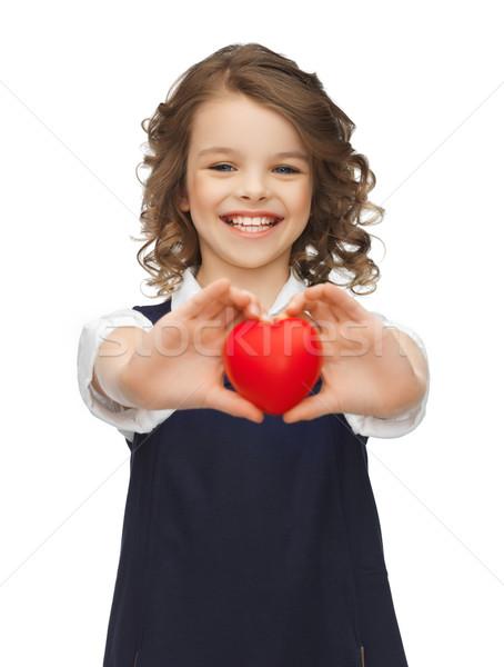 Kız küçük kalp resim güzel kız sevmek Stok fotoğraf © dolgachov