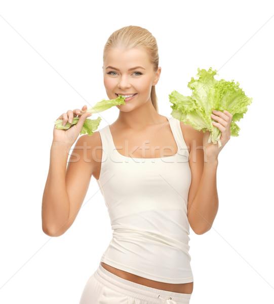 Nő harap saláta kép egészséges darab Stock fotó © dolgachov