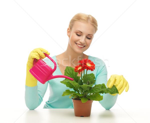 Ev kadını saksı sulama kadın kız gülümseme Stok fotoğraf © dolgachov
