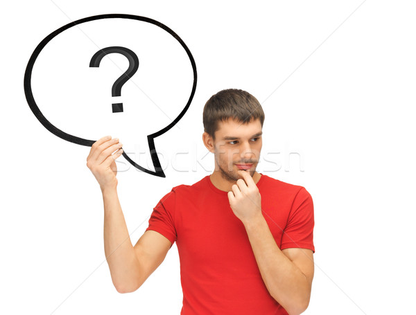 Stock photo: man with question mark in text bubble