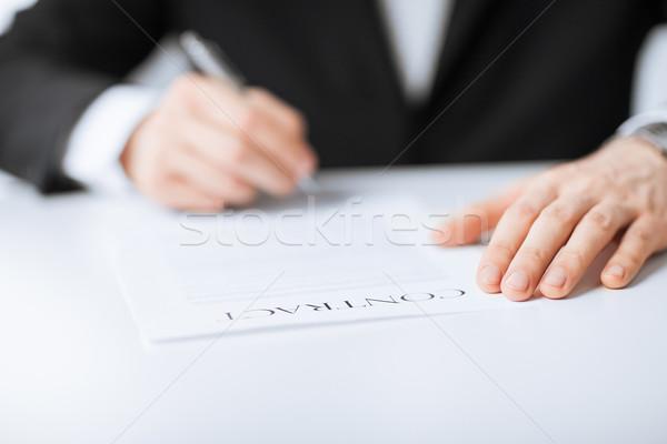 человека договор фотография рук подписания бизнеса Сток-фото © dolgachov