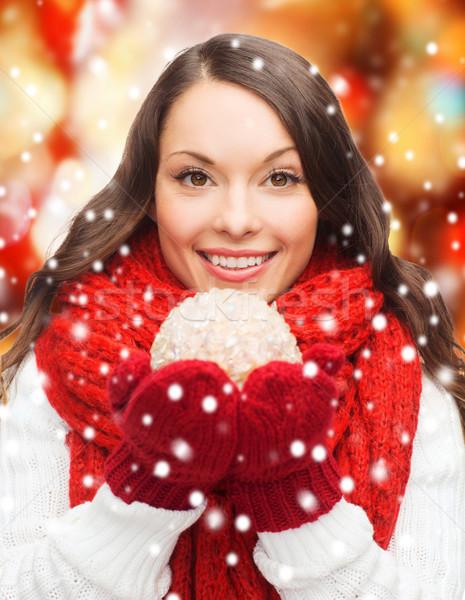 Kadın eşarp eldiveni Noel top kış Stok fotoğraf © dolgachov