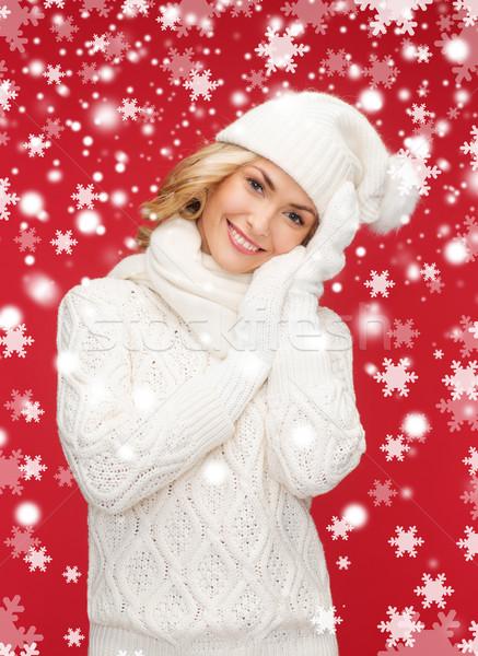 Vrouw hoed sjaal wanten winter mensen Stockfoto © dolgachov
