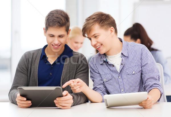 Estudantes olhando palestra escolas educação Foto stock © dolgachov