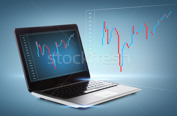 Ordinateur portable forex graphique bureau technologie argent Photo stock © dolgachov