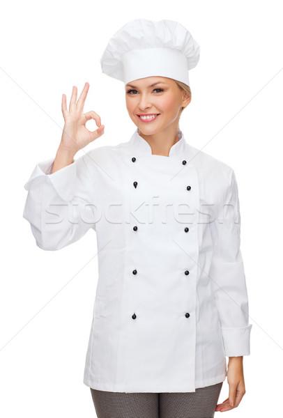 笑みを浮かべて 女性 シェフ 印相 ストックフォト © dolgachov