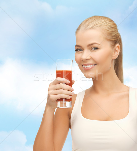 笑顔の女性 ガラス トマトジュース 健康 ダイエット ストックフォト © dolgachov