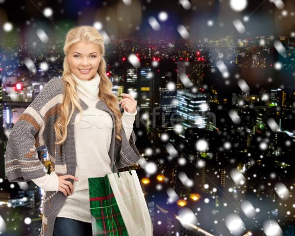 улыбаясь счастье зима праздников Сток-фото © dolgachov