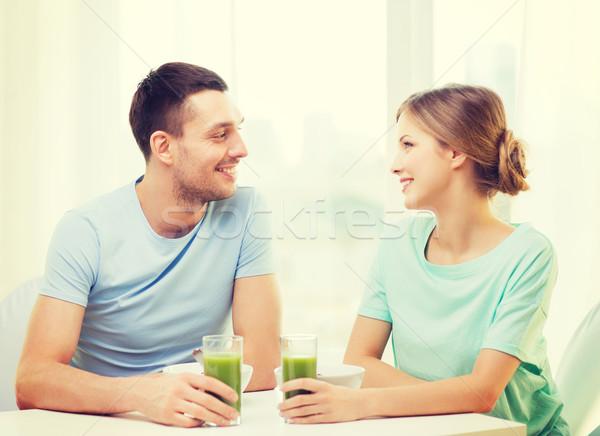 Stockfoto: Glimlachend · paar · ontbijt · home · voedsel · geluk