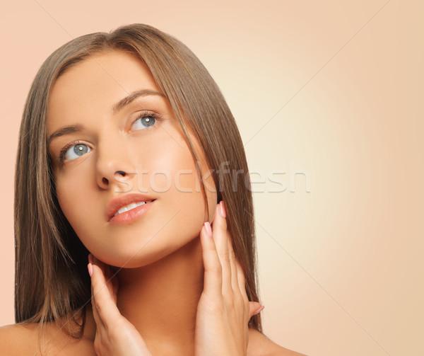 Mooie jonge vrouw gezicht schoonheid mensen gezondheid Stockfoto © dolgachov