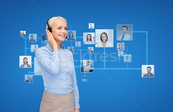 幸せ 女性 ヘルプライン 演算子 ヘッドホン ビジネス ストックフォト © dolgachov