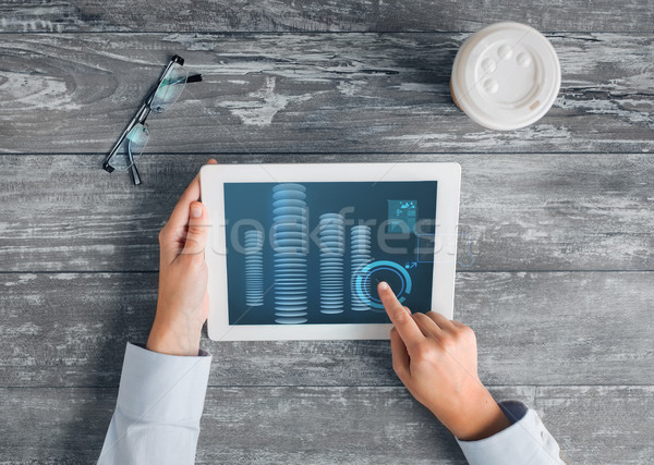 close up of hands with tablet pc and bitcoin Stock photo © dolgachov