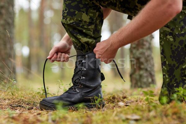 Asker orman savaş yürüyüş ordu Stok fotoğraf © dolgachov