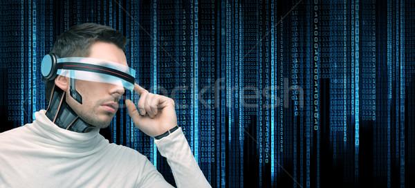 男 未来的な 眼鏡 人 技術 将来 ストックフォト © dolgachov
