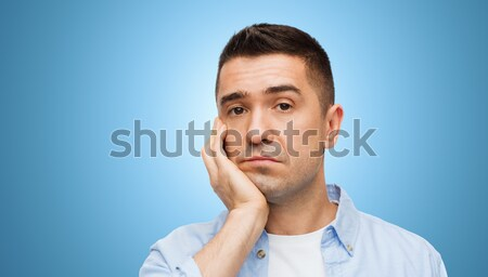 Sıkılmış yüz mavi duygular insanlar Stok fotoğraf © dolgachov