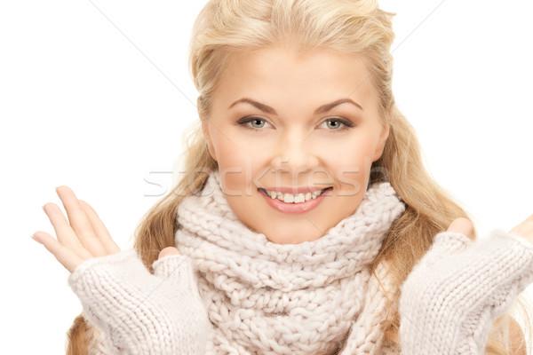 Mooie vrouw wanten heldere foto vrouw gezicht Stockfoto © dolgachov