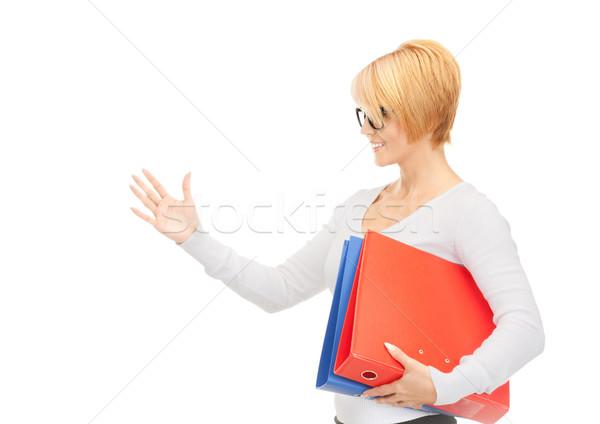 Işkadını klasörler hazır el sıkışma resim kadın Stok fotoğraf © dolgachov