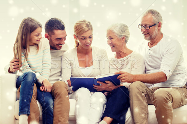 happy family with book or photo album at home Stock photo © dolgachov