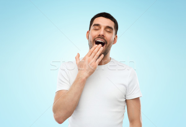Fatigué somnolent homme bleu personnes Photo stock © dolgachov