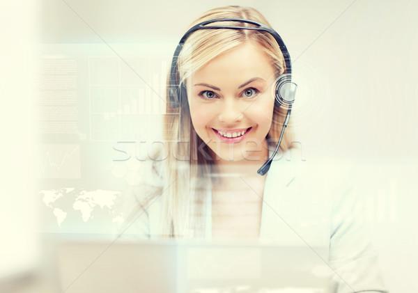 Futurista femenino línea de ayuda operador auriculares virtual Foto stock © dolgachov
