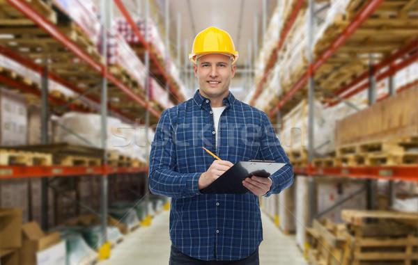счастливым человека шлема буфер обмена склад оптовая торговля Сток-фото © dolgachov