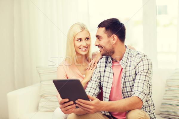 Photo stock: Souriant · heureux · couple · maison · amour
