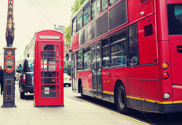 double decker bus and telephone booth in london Stock photo © dolgachov