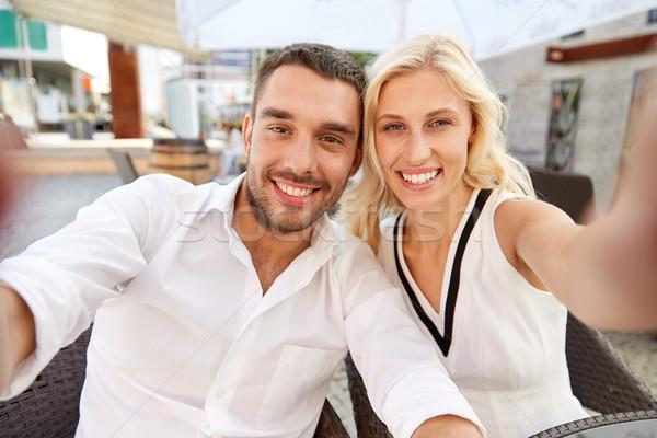 Mutlu çift restoran teras sevmek Stok fotoğraf © dolgachov