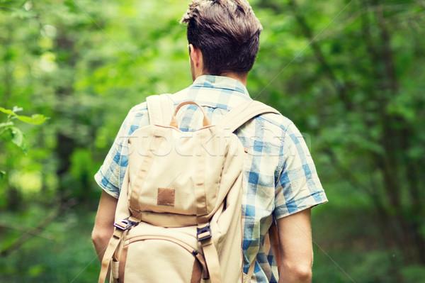 молодым человеком рюкзак походов лесу Adventure путешествия Сток-фото © dolgachov