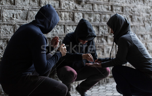 close up of people smoking cigarettes with drugs Stock photo © dolgachov