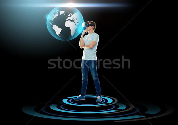 Stockfoto: Gelukkig · man · virtueel · realiteit · hoofdtelefoon · 3d-bril