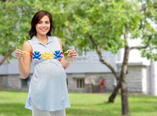 Mutlu hamile kadın oyuncak gebelik Stok fotoğraf © dolgachov
