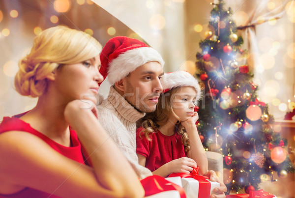 Stok fotoğraf: Bunalımlı · aile · ev · çok · hediye · kutuları · aile · Noel