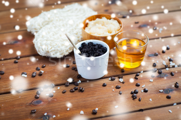 homemade coffee scrub, honey and wisp on wood Stock photo © dolgachov