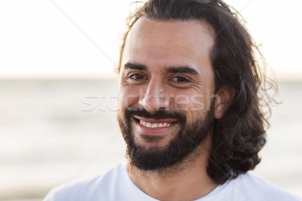 幸せ 笑みを浮かべて 男 あごひげ 屋外 感情 ストックフォト © dolgachov