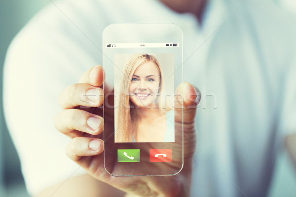 close up of hand with incoming call on smartphone Stock photo © dolgachov